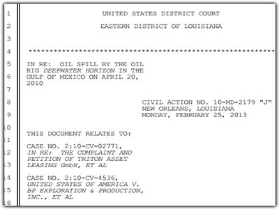 Court Document Deep Water Horizon