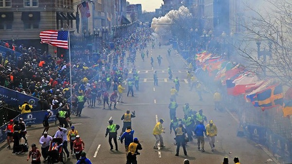 The moment of the Boston Marathon explosion