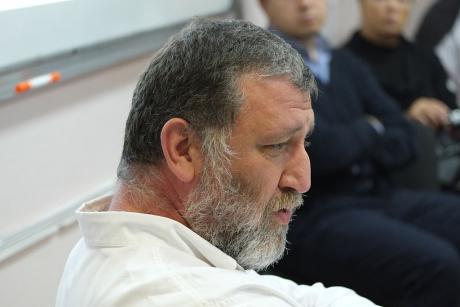 journalist Sergei Parkhomenko, at a conference in Moscow, 2013. Photo: Flickr/ Ilya Schurov