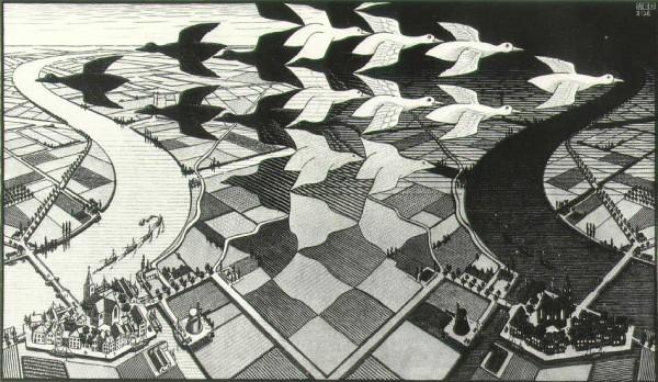 Day and Night, MC Escher, woodcut 1938