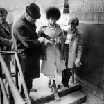Assata Shakur being led away to trial shackled 1977