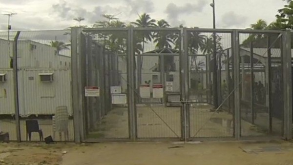 Gate to Manus Island camp