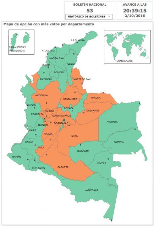 Photo. 2. Plebiscite results. Green: Yes. Orange: No. Registraduría Nacional, Colombia