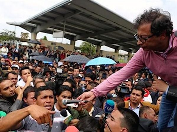 Gustavo Petro (holding mic) at a recent rally