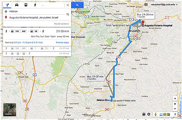 Figure 2: Journey to Augusta Victoria Hospital. Source: Google Maps