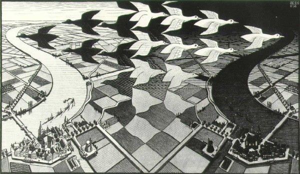 Day and Night, MC Escher, woodcut 1938