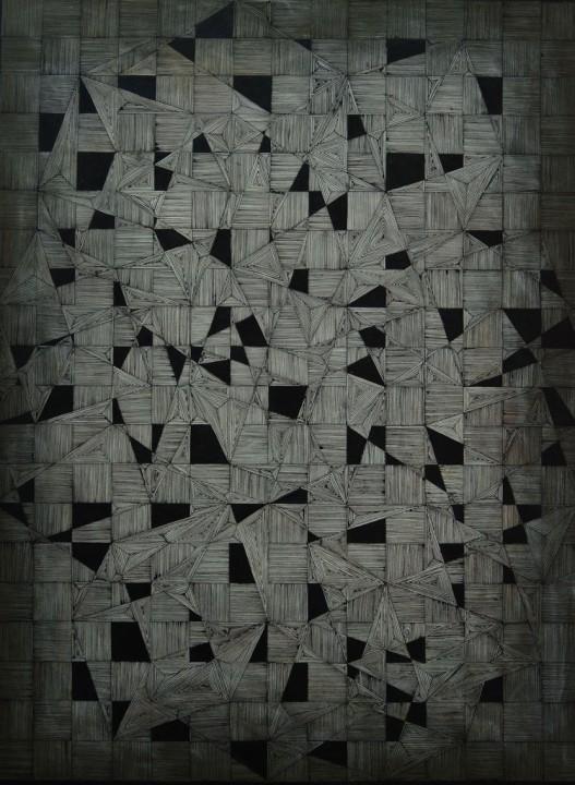 Shanthi Chandrasekar: Maya-cube (Acrylic on Canvas)